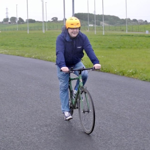 Picture of our member Stewart on a bike at Fife Cycle Park.
