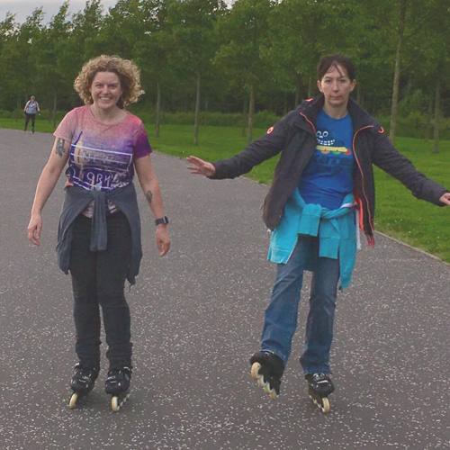 Luisa and Mags on rollerblades